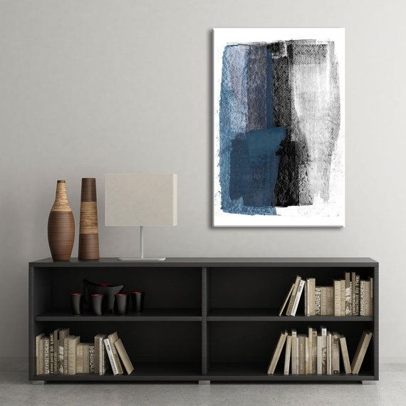 Minimalist Poster, Printable Art, Blue/Black/Grey Abstract Painting, Scandinavian Art, Abstract Wall Art, Oversized Art, Digital Download