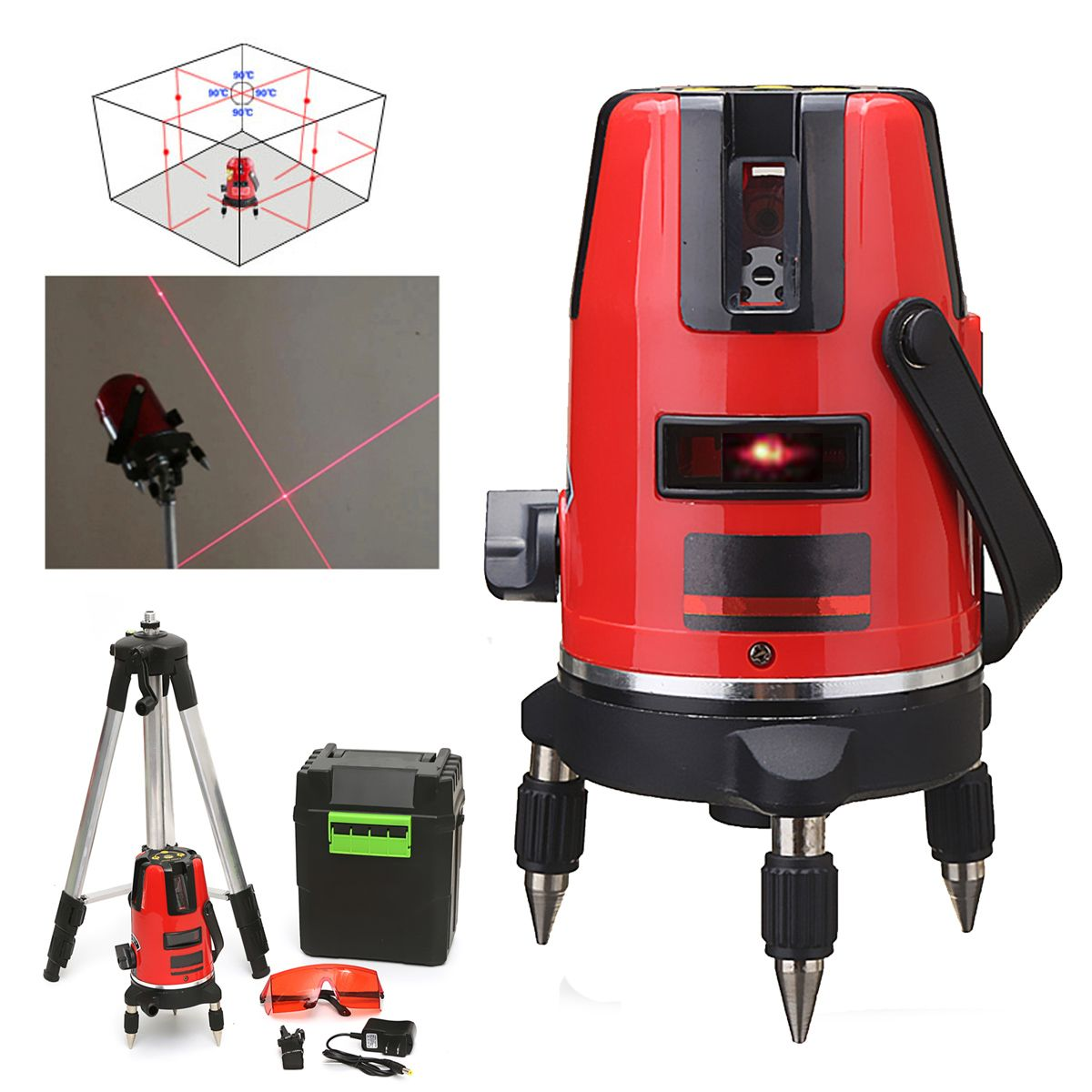5 Lines 6 Points Professional Waterproof Laser Level Red Automatic Level 360a Rotating Outdoor Mode Tripod Laser Levels Laser Waterproof