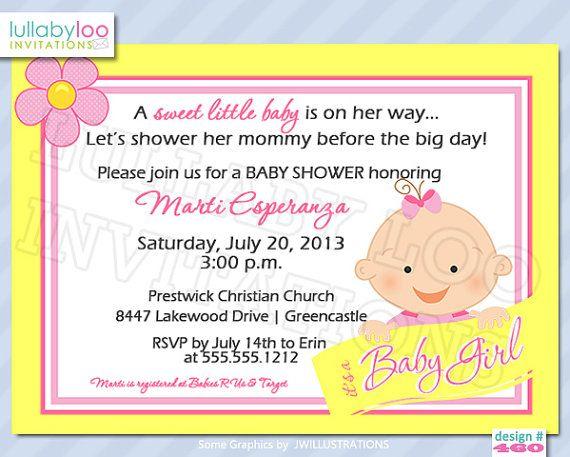 Baby Shower Invitations GIRLS 360  Pink Lemonade or Sunny Baby Shower Invitations by LullabyLoo, $18.00