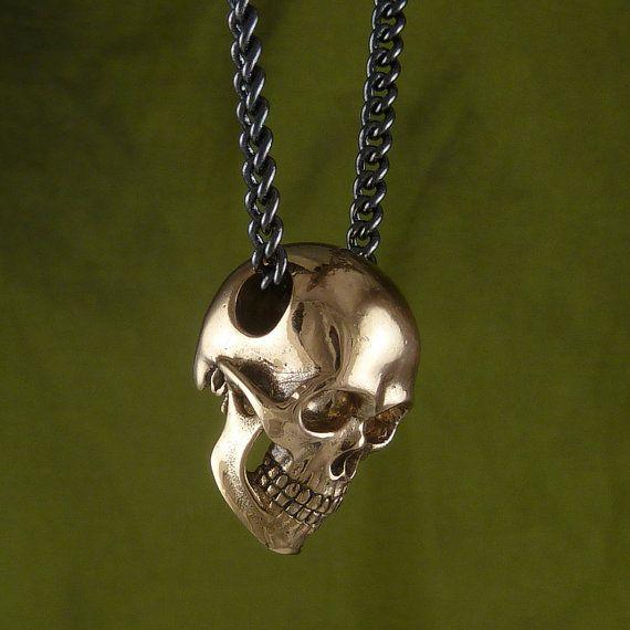 Colgante cadena Baby esqueleto Skull calavera cuero collar Gothic cuero cadena
