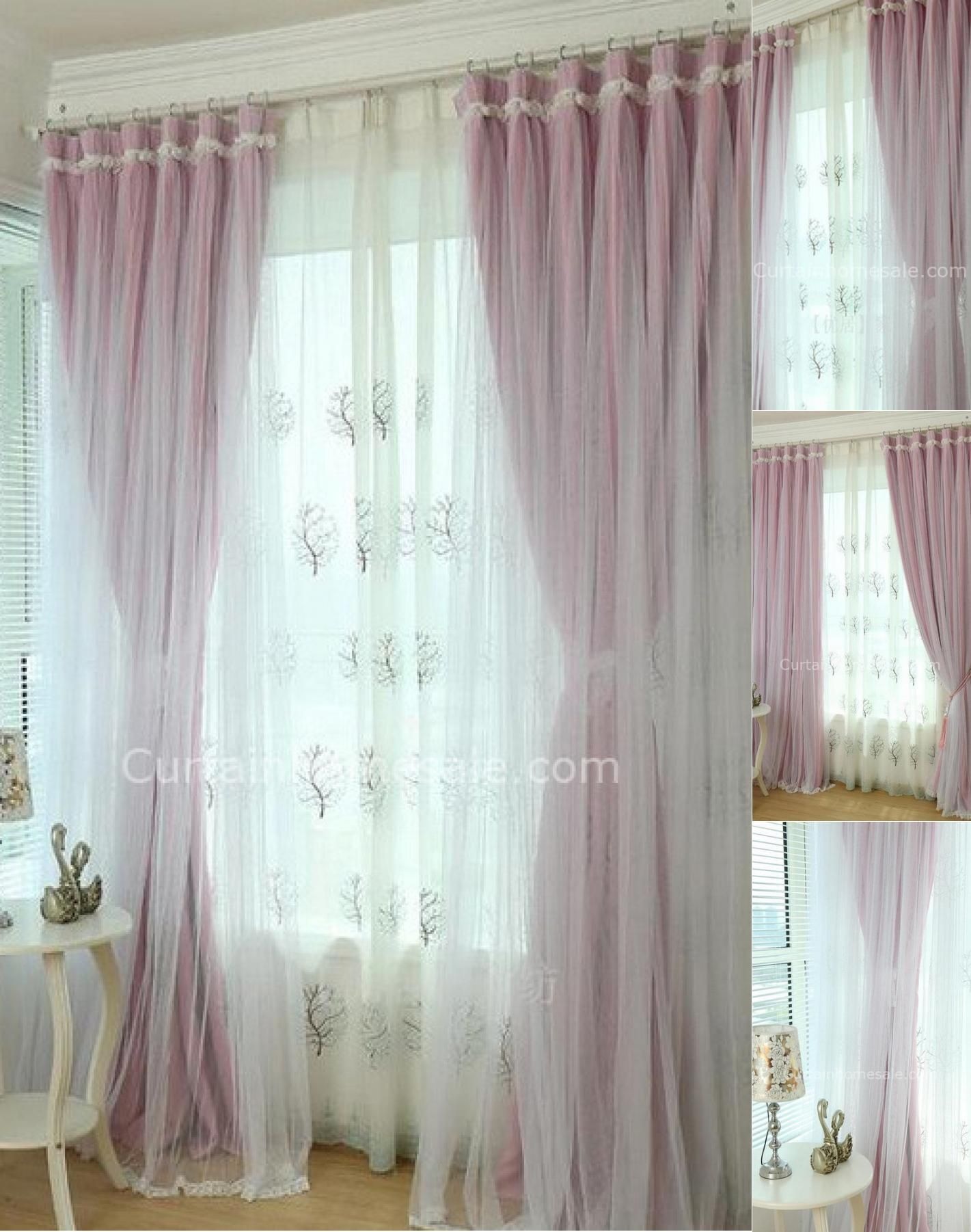 room lovely curtain girls striped create bedroom wall pink ideas girly painting bed and beige theme by curtains wooden fabric sheet nuance connected for on kids of