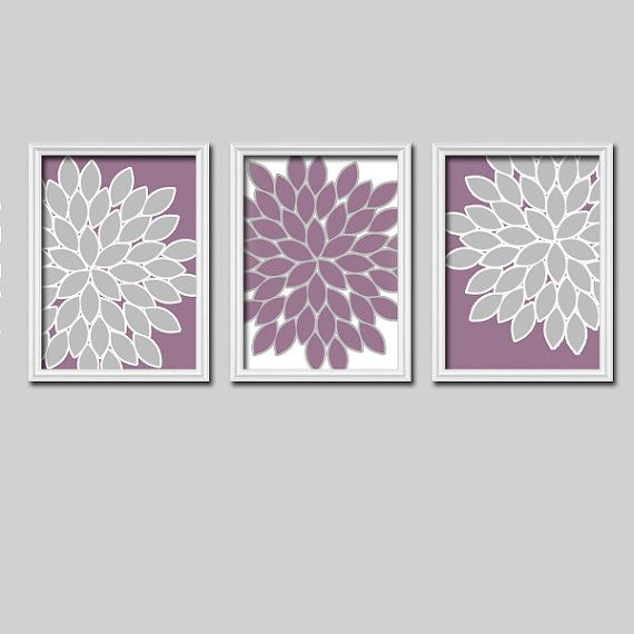 Gray Wall Art purple wall art, bedroom pictures, canvas or prints purple