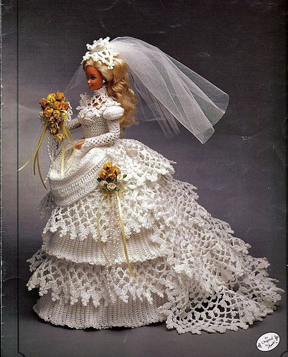 Bride Doll Gown #beddollsandcrocheted1112sizedolldresses Bride Doll Gown #bridedolls