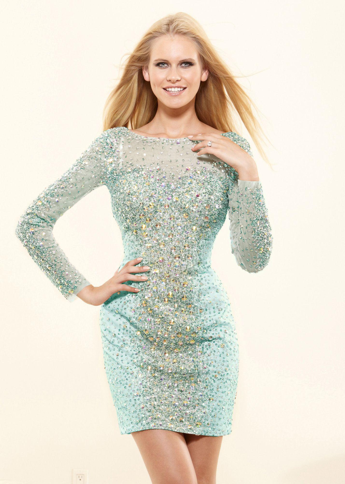 Terani p aqua long sleeve prom dresses online thepromdresses