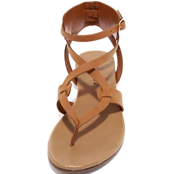 a50a2b4174 Boho Babe Tan Thong Sandals ($19) ❤ liked on Polyvore featuring shoes,  sandals, breckelles sandals, tan strappy sandals, strappy sandals, thong  strap ...