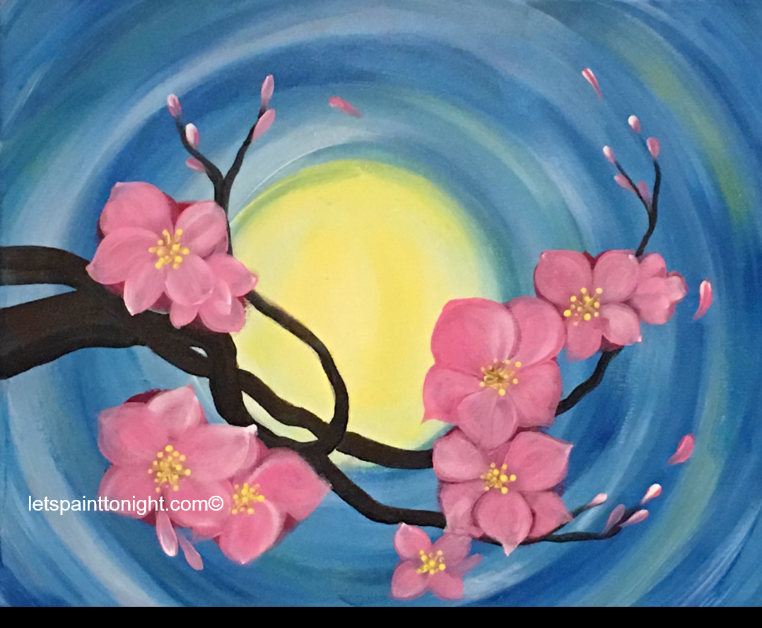 Pink Blossoms Is A Beautiful And Easy Acrylic Painting Of Blossoms By Moonlight 16x20 Canvas Paint Tonight Wi Flower Art Painting Flower Art Spring Painting
