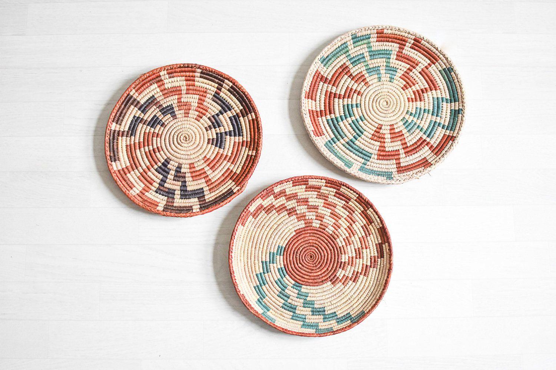 Korb Wandteller, Rattan, Teller Sammlung, Wandkorb, Afrikanische Boho  Körbe, Rattan Aufbewahrung