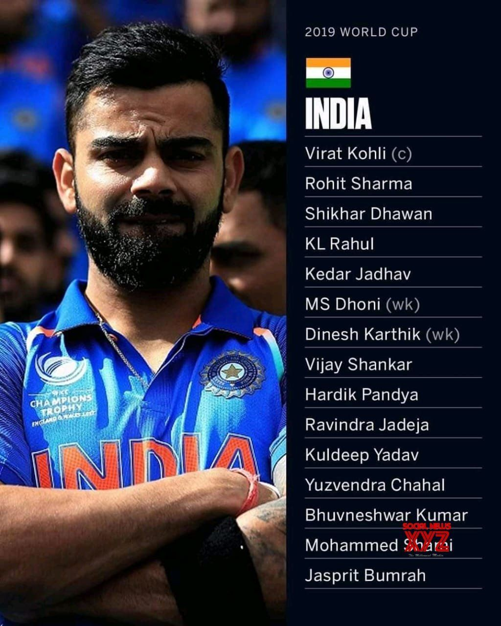 team india squad for the icc cricket world cup 2019 in england and wales social news xyz