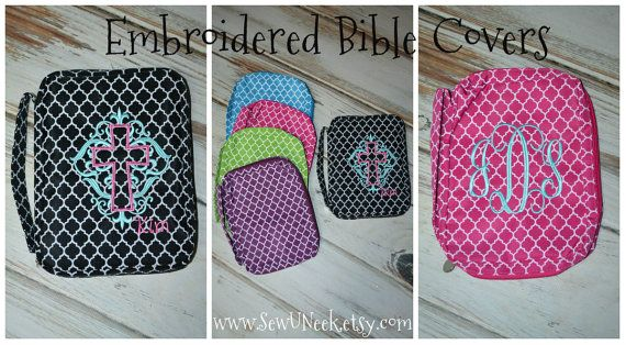 Quatrefoil Monogrammed Bible Covers by SewUNeek on Etsy