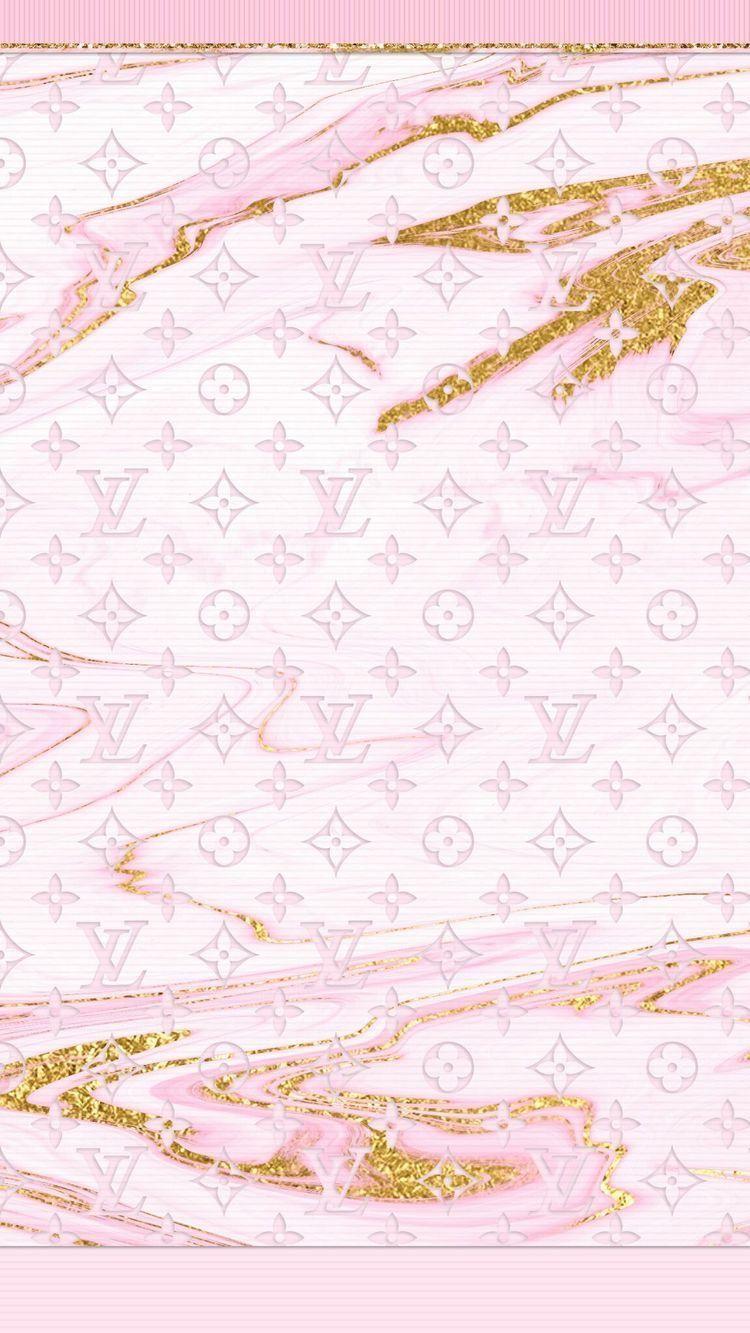 Aesthetic Glitter Louis Vuitton Wallpaper Pink
