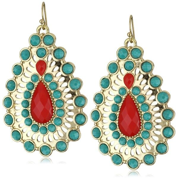 """RAIN """"Red and Turquoise"""" Crystal Earrings ❤ liked on Polyvore"""