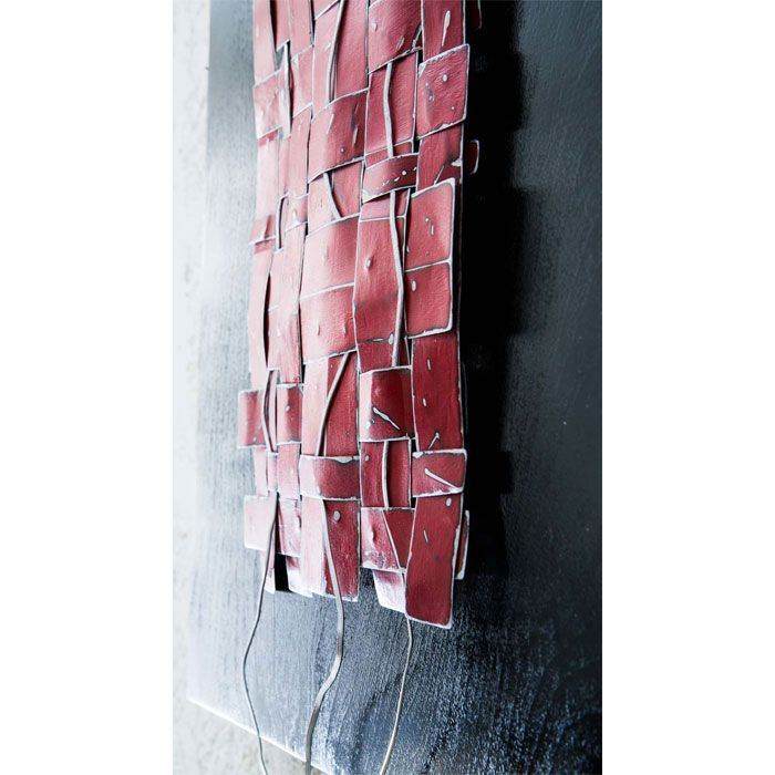 """Title: Zen Weave in Red (close-up). Abstract woven metal art by artist Paula Gibbs, Palm Springs, CA. Paint on metal mounted on wood panel, 16"""" x 26"""" x 2"""""""