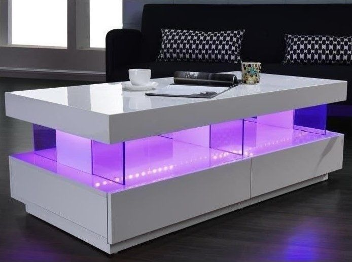 Light Table Basse Laquee Blanc Brillant Led Multicolore