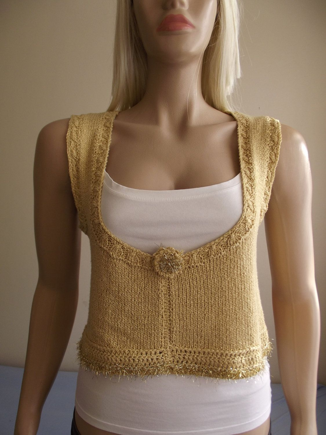 Hand Knitted SWEATER / Hand Knit Tank / Hand Knit Top / Gold ...