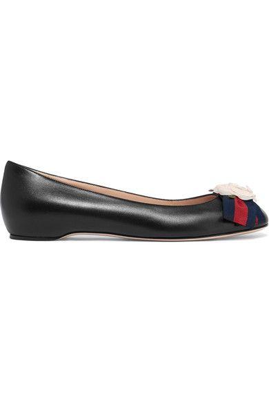 Gucci Embellished Leather Ballet Flats