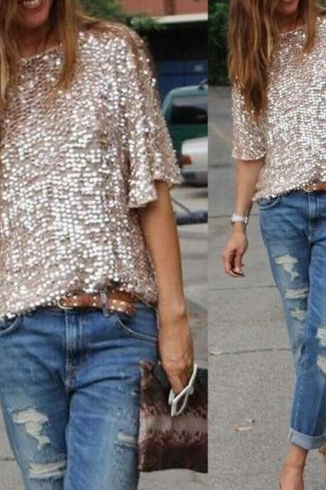 Sequins stitching loose t-shirts