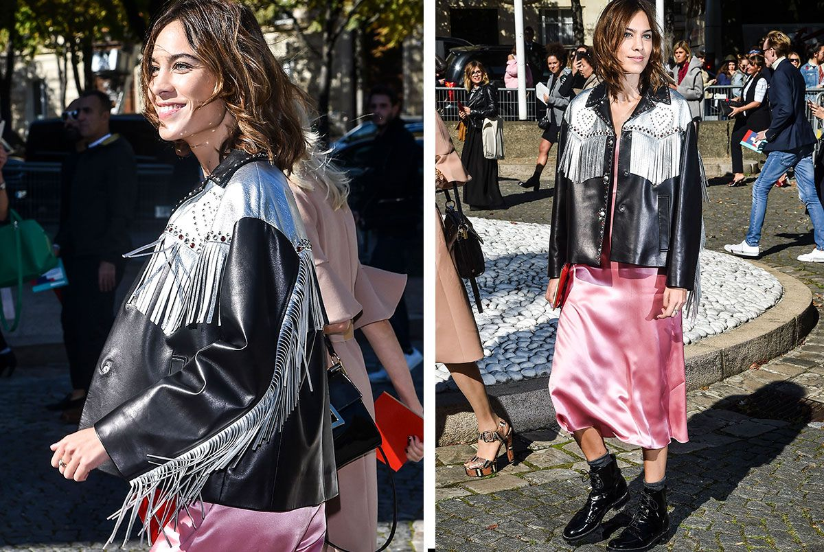 Street-Style Copycat: Alexa Chung's Slip Dress and Fringe Jacket