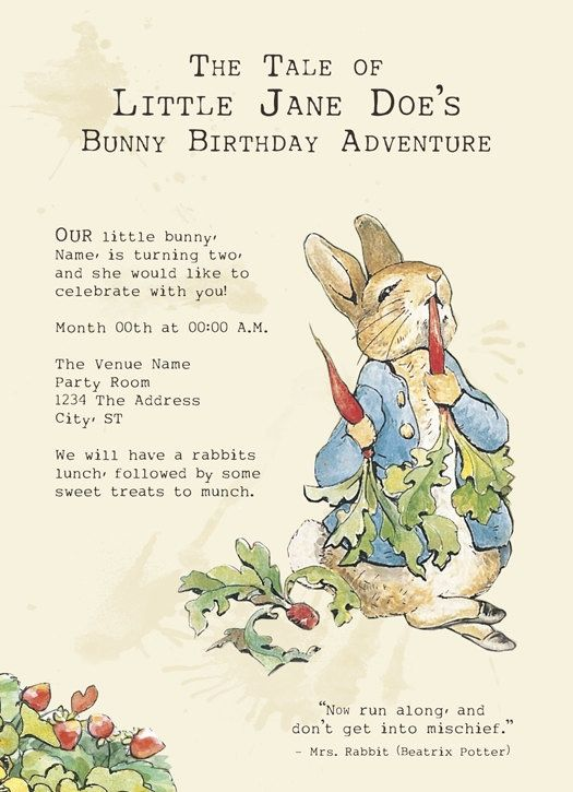 Peter Rabbit Printable Birthday Party Invitations – Beatrix Potter Birthday Invitations