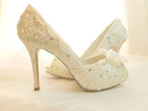 b8005017f979 Bespoke Wedding Shoes..choose the shoe style...with Swarovski crystals and  faux pearl embellishments