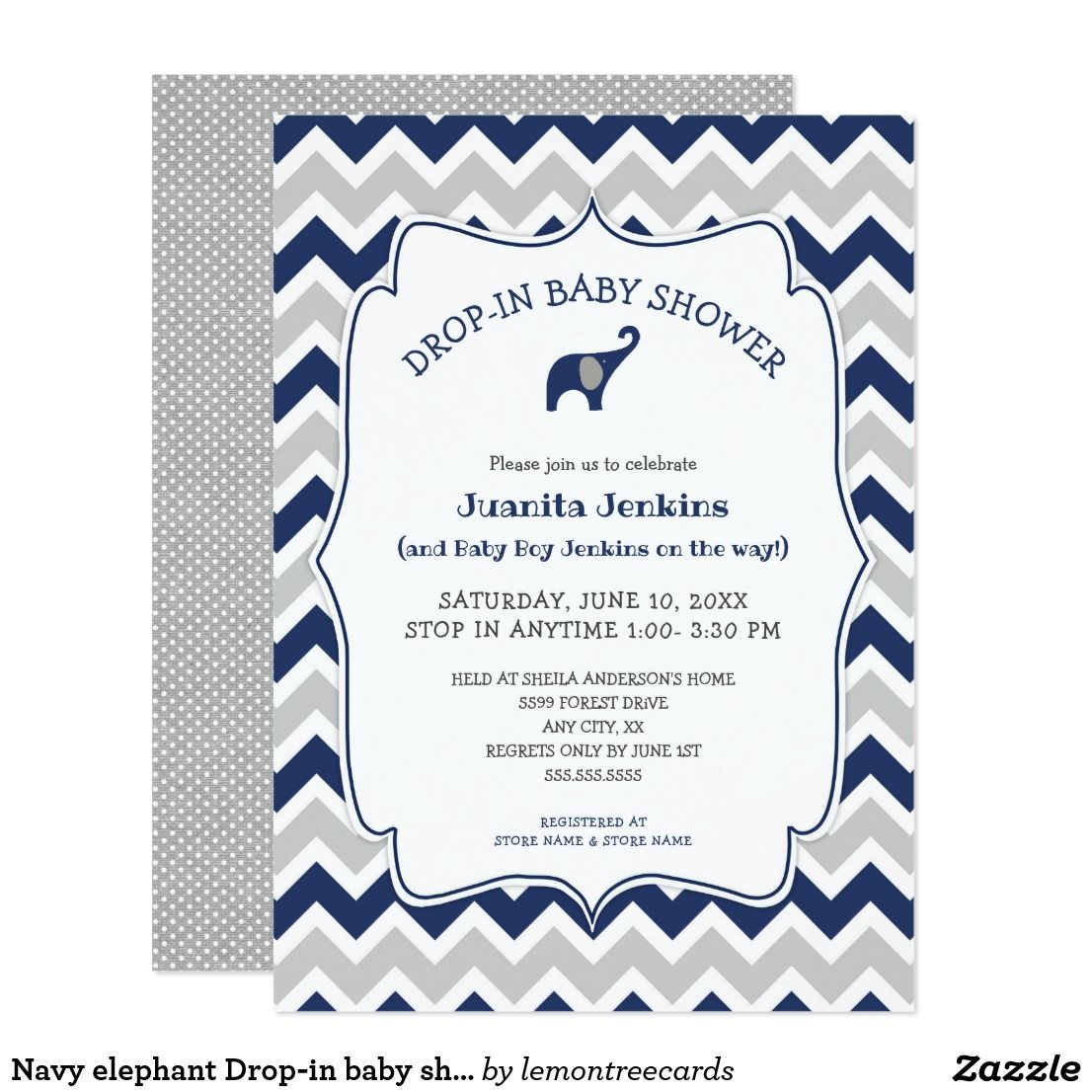 Navy Elephant Drop In Baby Shower Open House Invitation Zazzle
