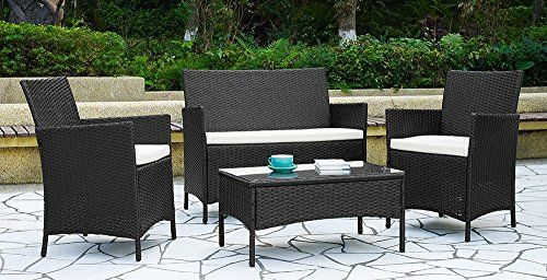 Garden Furniture Set Table Chair And Sofa Black Rattan Co Https Www Amazon Co Uk Dp B01d0breke Ref C Small Patio Furniture Garden Furniture Sets Furniture