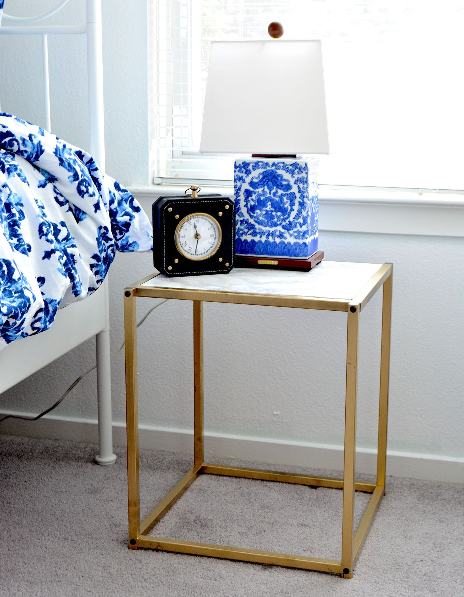 DIY Gold and Faux Marble Nightstand Marble nightstand