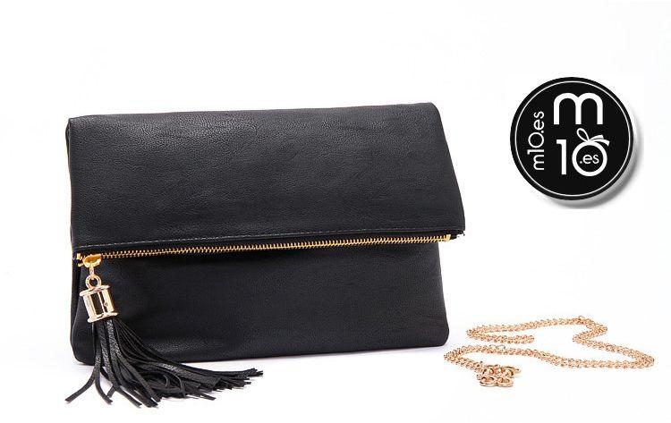 Elegante bolso de mujer con borla color negro casual de fiesta vintage fashion para cofres de regalo