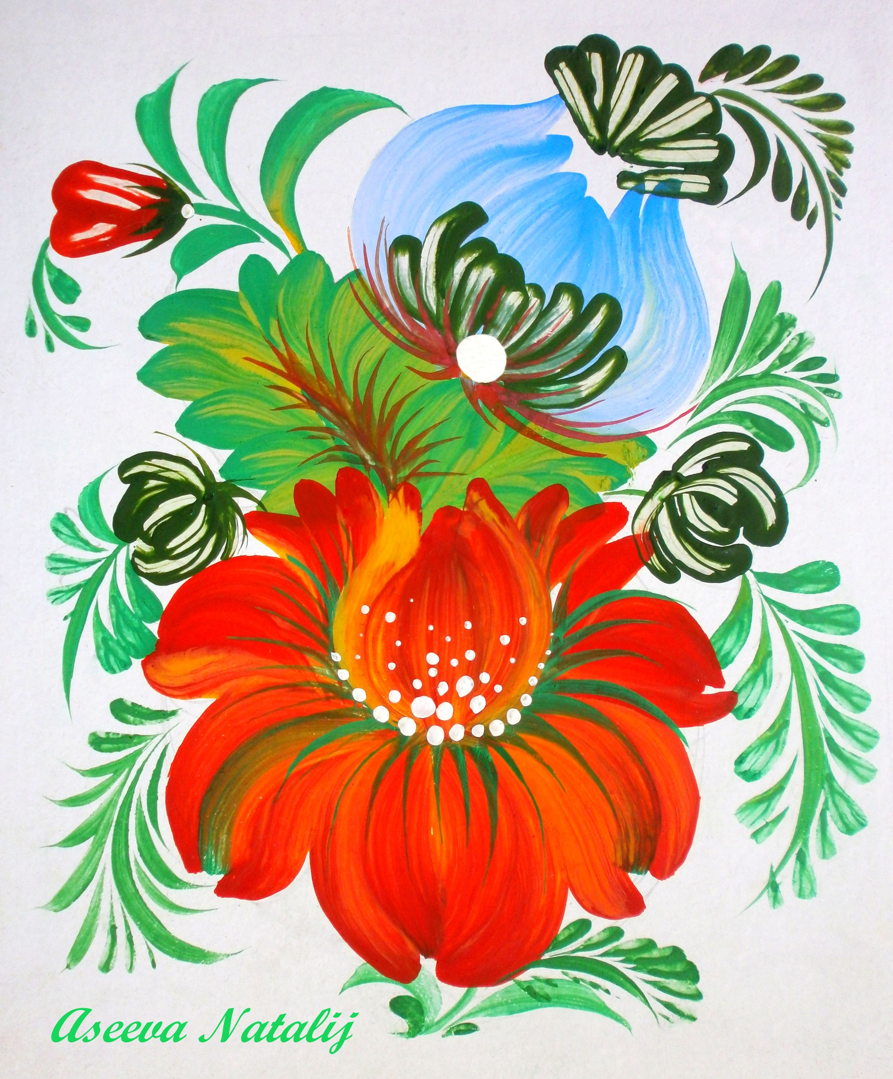петриковскую роспись открытки внушила