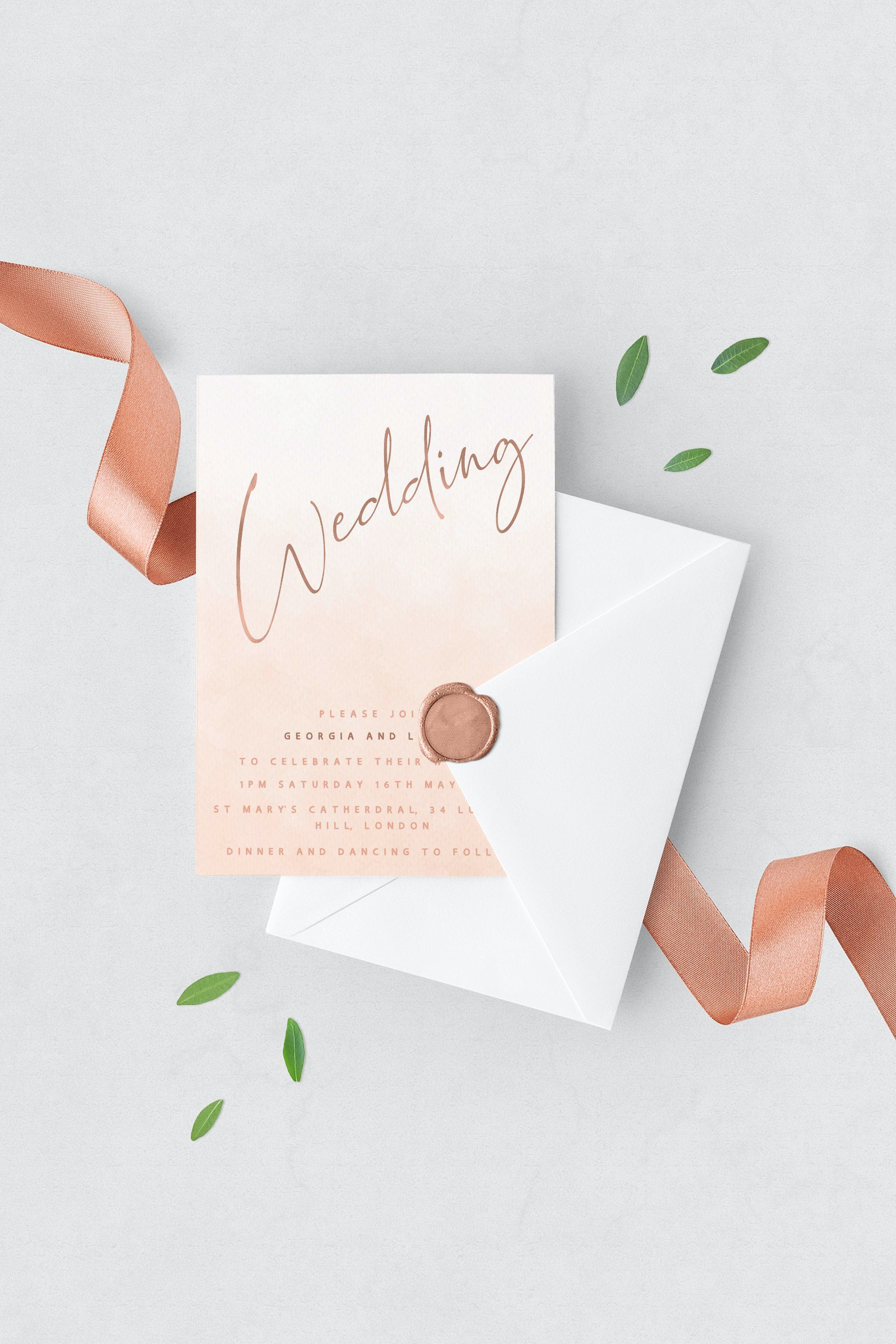 Wedding Invitation Template Suite Blush Ombre with Rose ...