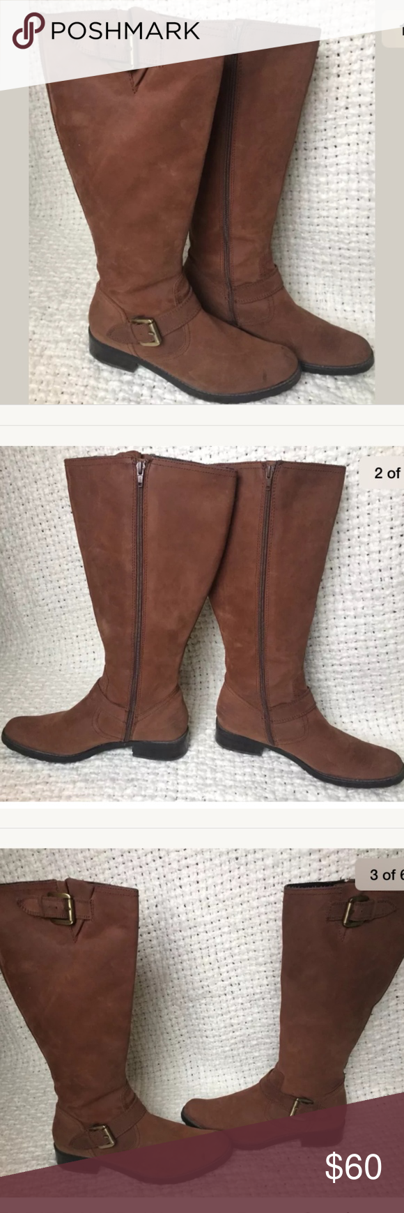 """EDDIE BAUER Brown Leather Riding Boots 9.5 WIDE Gently worn WIDE calf brown suede/leather riding boots from Eddie Bauer. No wear on outside minus minor mark shown in picture. No stains! No box available or included. Item comes from a smoke free home.  Heel: approx 1.5""""  Flat across opening: 8.5""""  Total height: 17"""" Eddie Bauer Shoes Ankle Boots & Booties"""