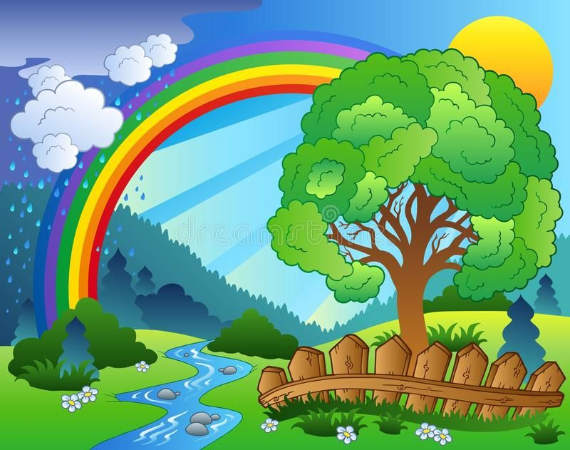Landscape With Rainbow And Tree Illustration Affiliate
