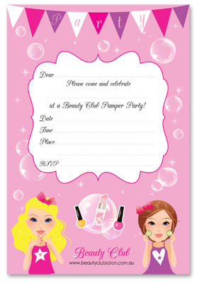 Beauty Salon Birthday Invitations Beauty Club Parties Melbourne