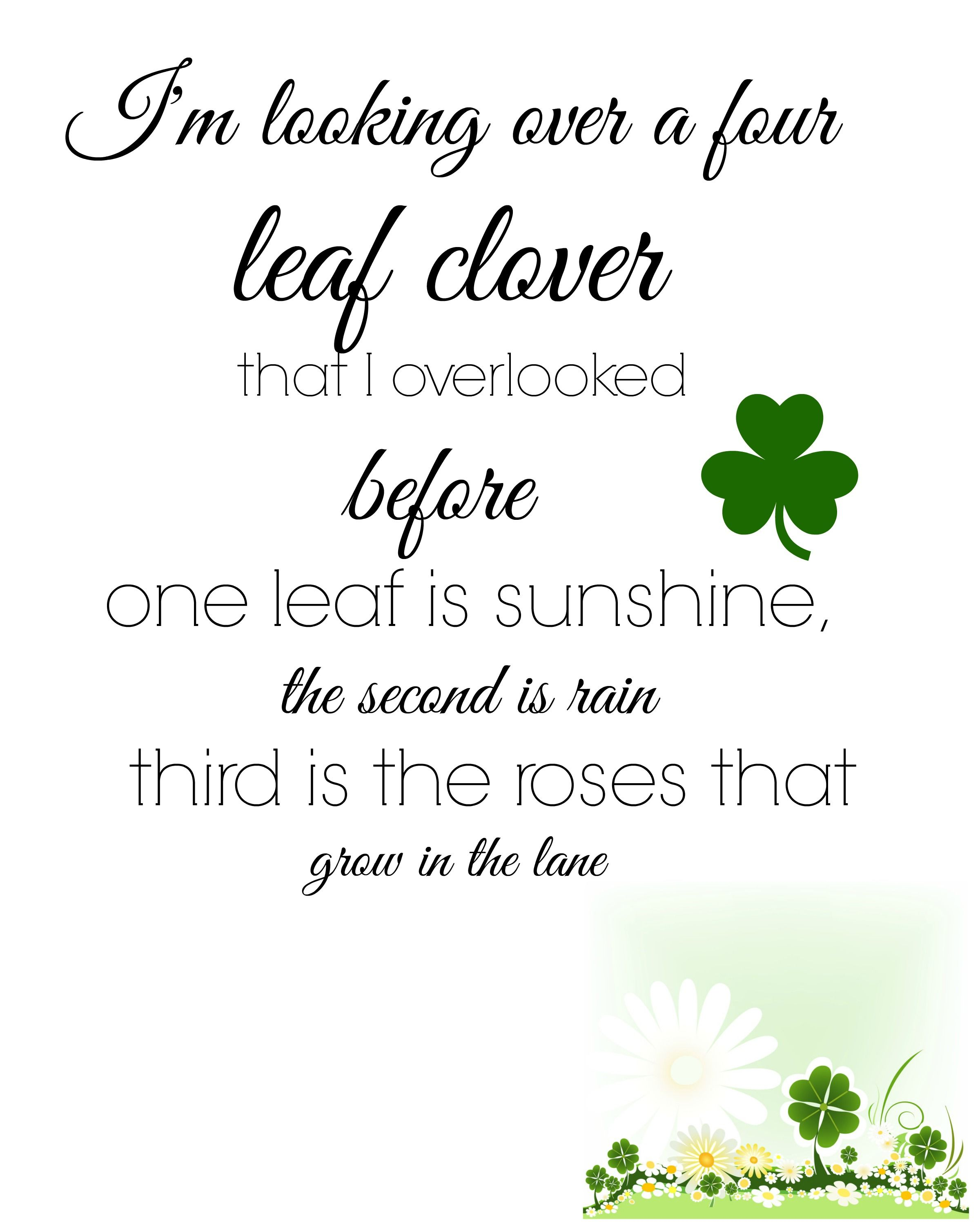 im looking over a four leaf clover printable free - Four Leaf Clover Printable