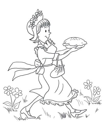 Amelia Bedelia Carrying Lemon Meringue Pie Coloring Page