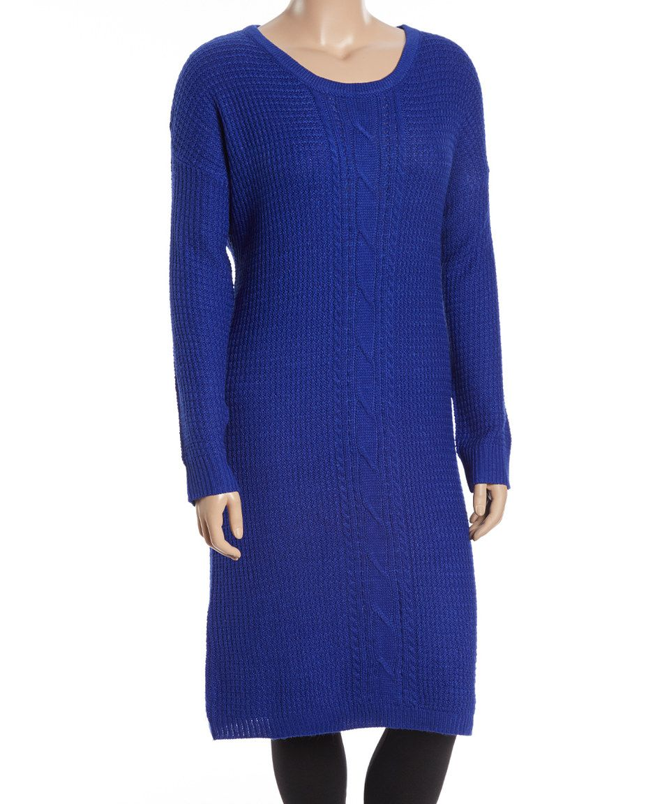 Stevie & Lindsay Royal Blue Cable-Knit Sweater Dress - Plus ...