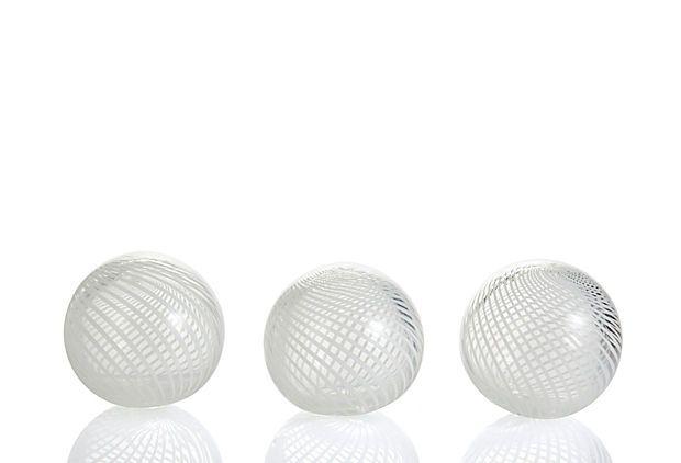 S/3 White Pirouette Globes, Small on OneKingsLane.com
