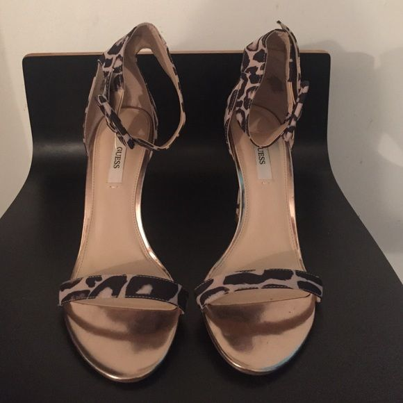 b30cc3480 GUESS Leopard Print open toe high heel sandals. Rose Gold and Leopard Print  open toe GUESS sandals with wide ankle strap design in size 8.
