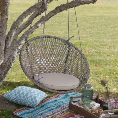 Island Bay Saria Resin Wicker Single Swing Chair with Seat Pad - Hammock Chairs & Swings at Hayneedle