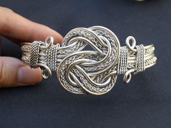 Riesige alte tibetische Kupfer geflochten fein Multi Weberei Threads Amulett Manschette Armband