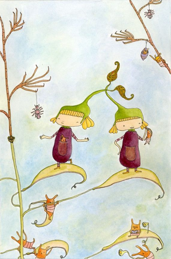 Eggplant Twins Illustration Print 85x11 by tanabees on Etsy, $10.00