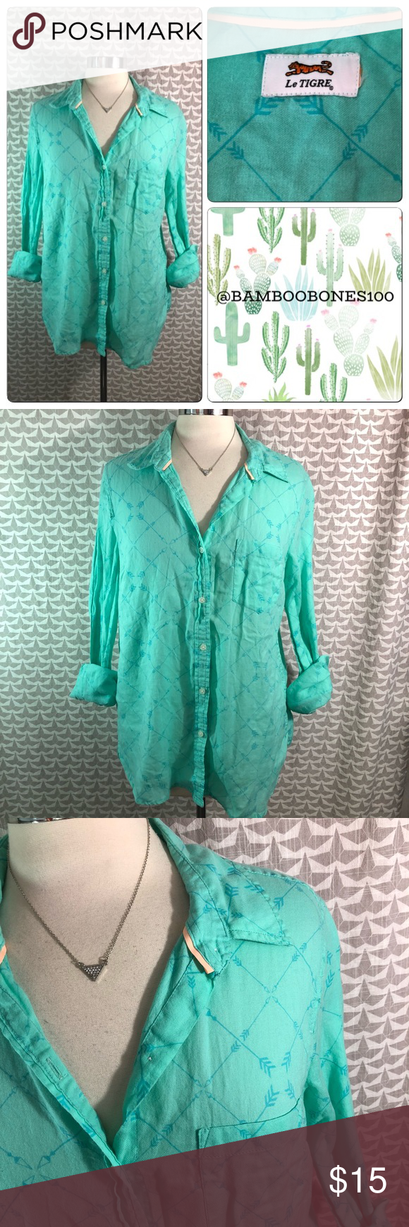 Le Tigre Mint Arrow Blouse Large Brand  Le Tigre Size  large (no tag)  Underarm to underarm (inches)  21.5 Underarm to bottom hem  14 (dips up on  the sides) ... 874e4d8d8