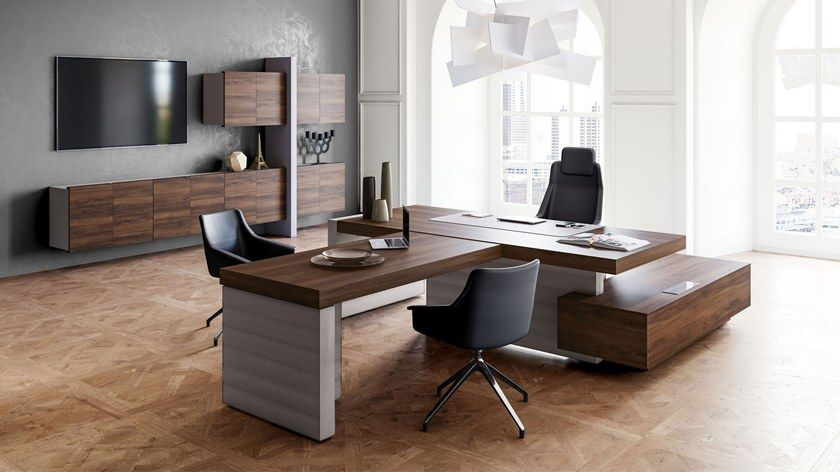 L Shaped Executive Desk With Shelves Jera Office Desk With