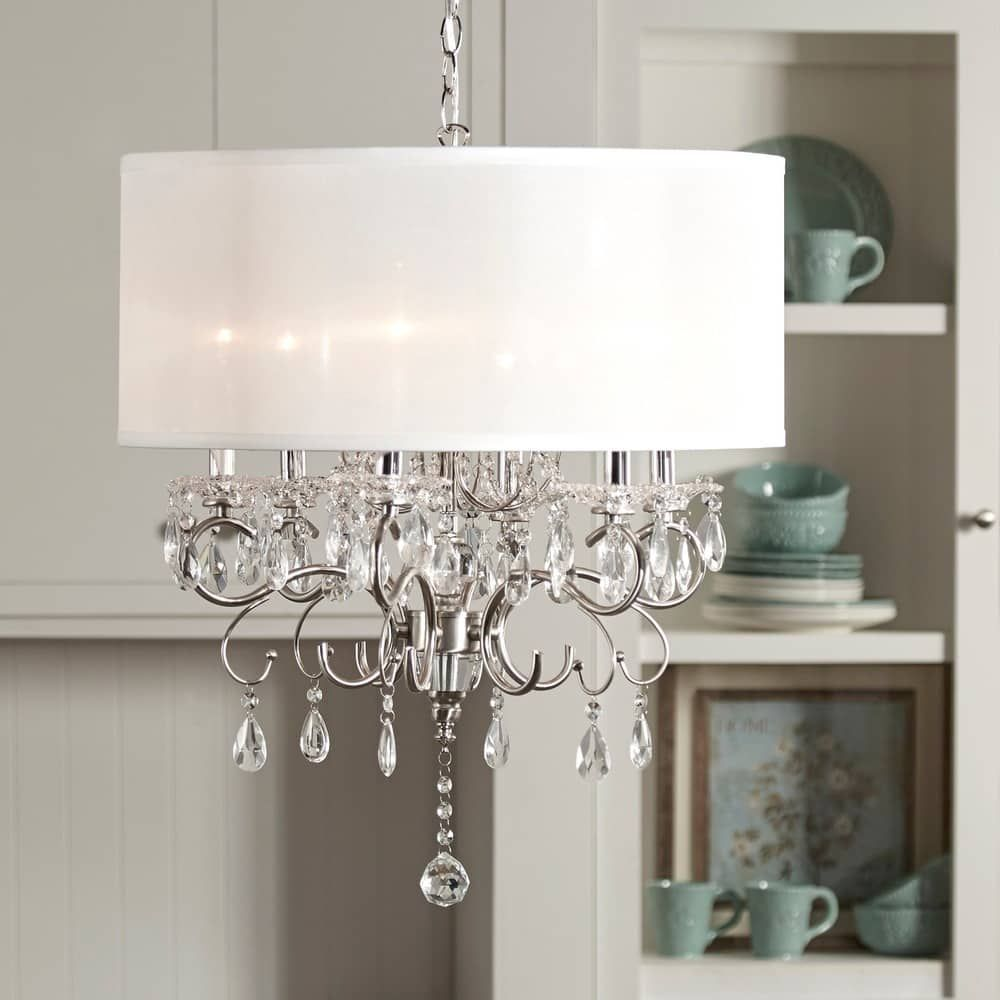 Silver Mist Hanging Crystal Drum Shade Chandelier by iNSPIRE Q Classic |  Overstock.com Shopping