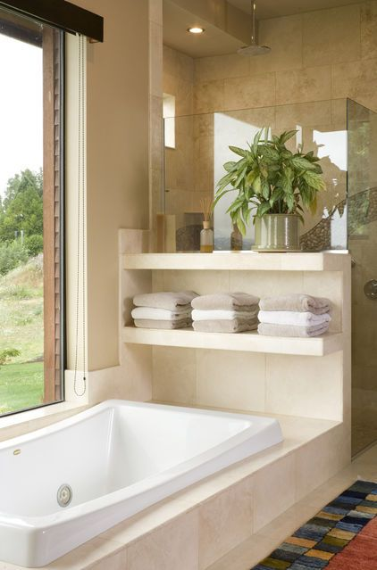 Portland Bathtubu0027s Towel Storage. Open Marble Shelving To Store Towels At  The End Of This