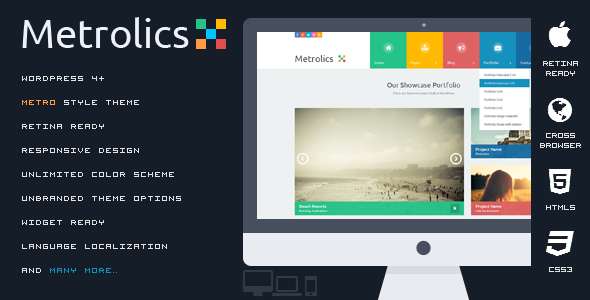 Metrolics - Responsive Metro WordPress Theme | Pinterest