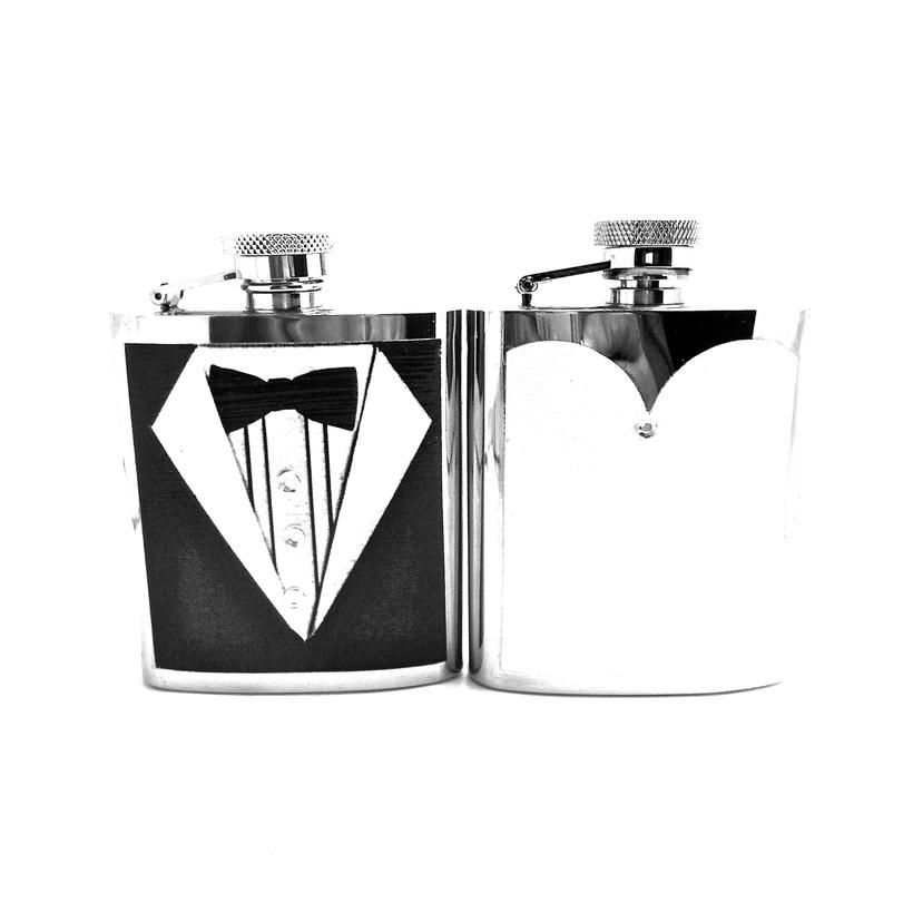 Bride groom flask gift set personalized wedding