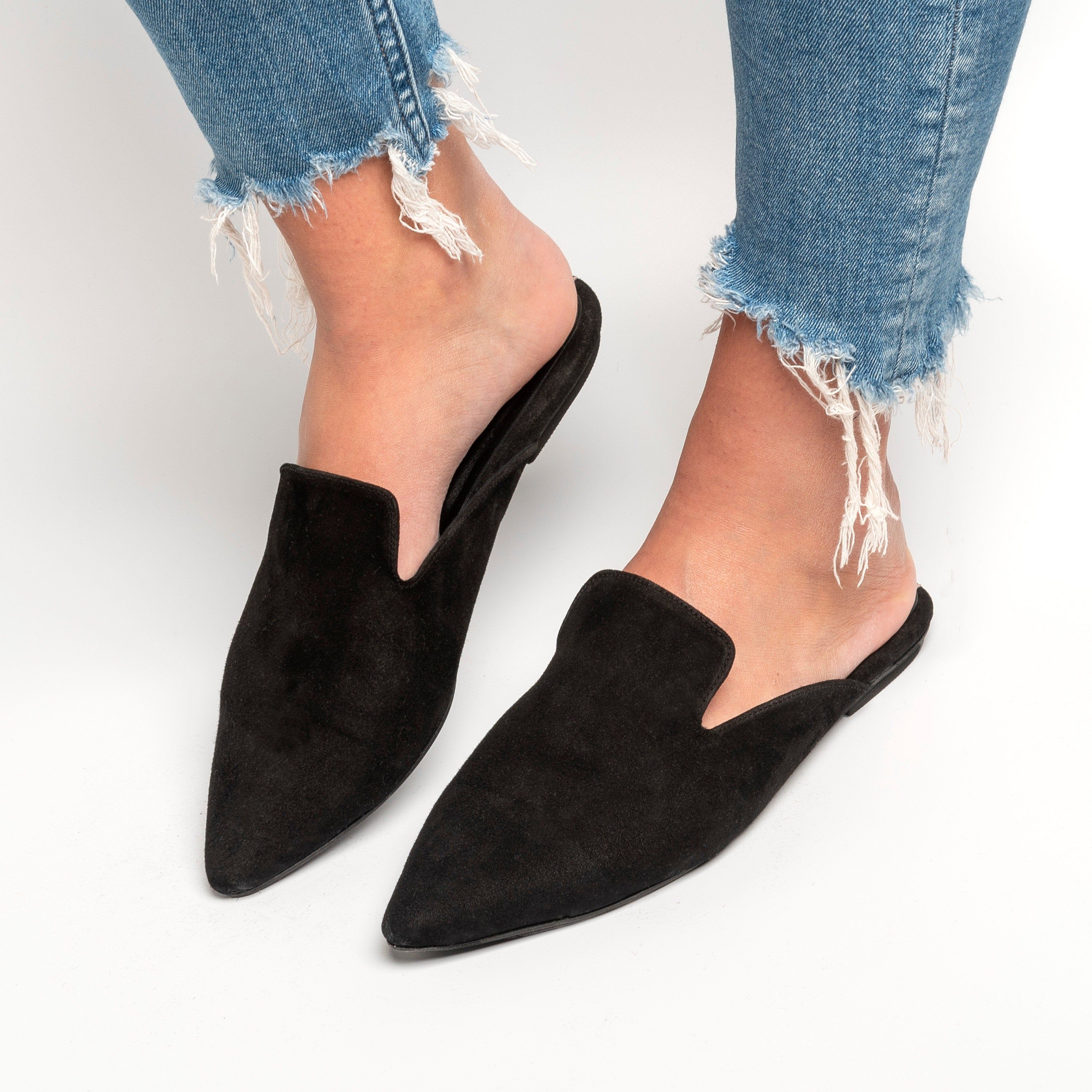 Mules black, Suede Leather Mules
