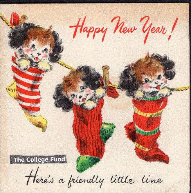 vtg cocker spaniel puppy dogs xmas stockings mid century new year greeting card