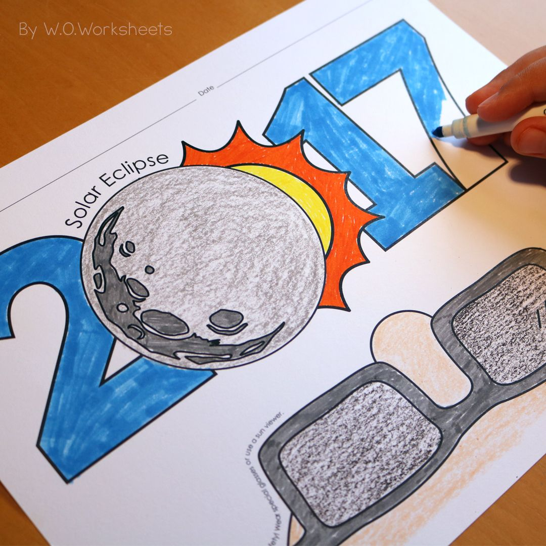 Solar Eclipse 2017 Free Coloring Page