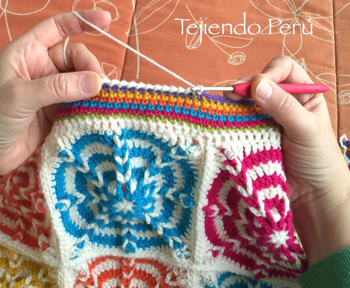 Crochet: borde en medio puntos con un filo en punto cangrejo ...